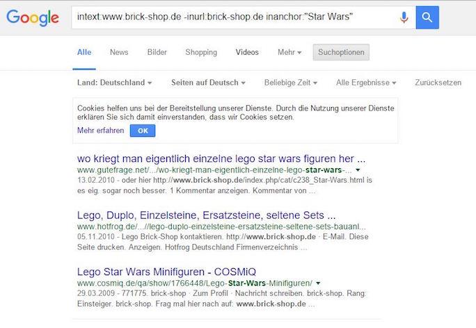Google Advanced Search Operators: Backlinks brick Shop