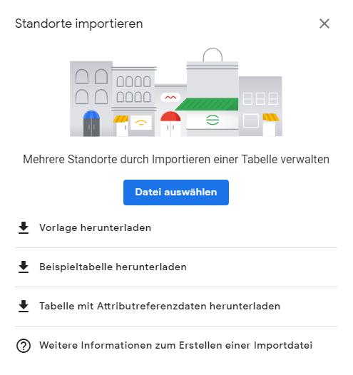 Google My Business Standorte importieren