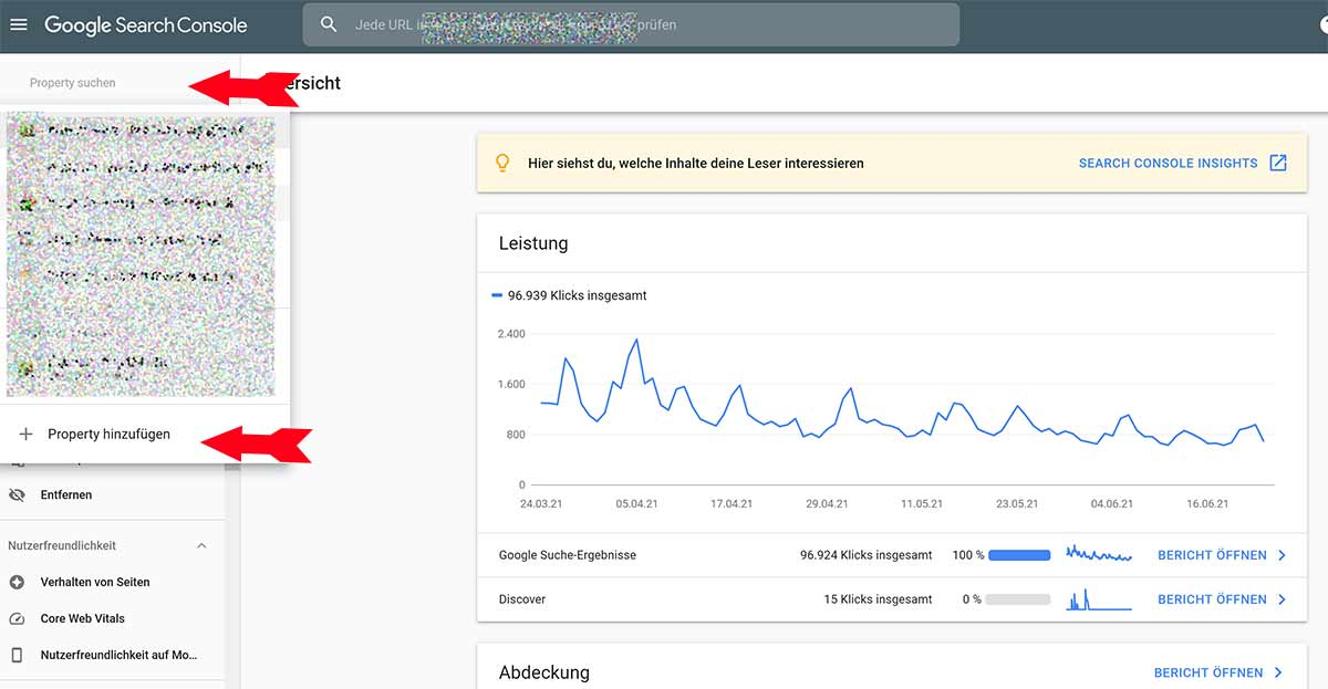 Google Search Console Property anmelden